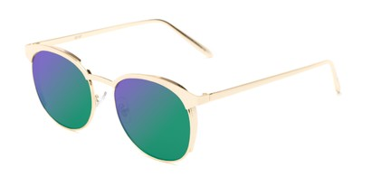Angle of Funston #25157 in Glossy Gold Frame with Green/Purple Lenses, Women's Round Sunglasses