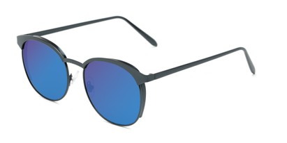 Angle of Funston #25157 in Matte Blue Frame with Blue/Purple Mirrored Lenses, Women's Round Sunglasses