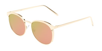 Angle of Funston #25157 in Glossy Rose Gold Frame with Pink/Green Mirrored Lenses, Women's Round Sunglasses