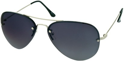 Angle of SW Rimless Aviator Style #346 in Silver Frame with Smoke Lenses, Women's and Men's