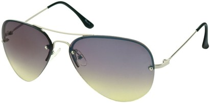 Angle of SW Rimless Aviator Style #346 in Silver Frame with Green Lenses, Women's and Men's