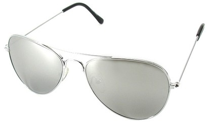 Angle of SW Silver Aviator Style #1678  in Silver Frame with Mirrored Lenses, Women's and Men's