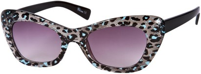 Angle of SW Animal Print Retro Style #280 in Blue/Black/Clear Frame, Women's and Men's