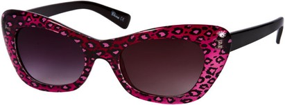 Angle of SW Animal Print Retro Style #280 in Pink/Black/Clear Frame, Women's and Men's
