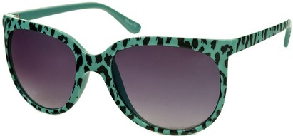 Angle of SW Animal Print Retro Style #1335 in Seafoam Green Frame with Smoke Lenses, Women's and Men's