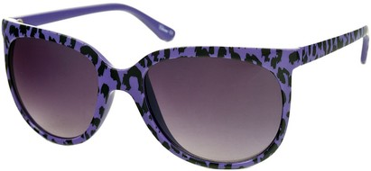 Angle of SW Animal Print Retro Style #1335 in Purple Frame with Smoke Lenses, Women's and Men's