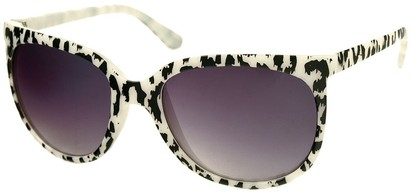 Angle of SW Animal Print Retro Style #1335 in White Frame with Smoke Lenses, Women's and Men's