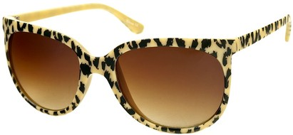 Angle of SW Animal Print Retro Style #1335 in Tan Frame with Amber Lenses, Women's and Men's
