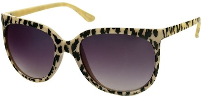 Angle of SW Animal Print Retro Style #1335 in Beige Frame with Smoke Lenses, Women's and Men's