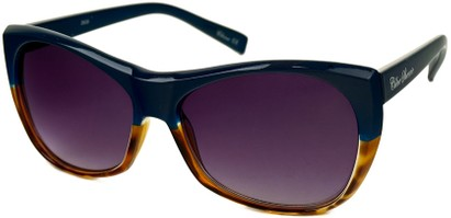 Angle of SW Two-Tone Cat Eye Style #2785 in Blue/Brown Tortoise Frame, Women's and Men's