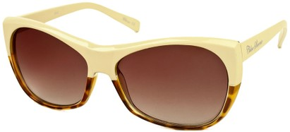 Angle of SW Two-Tone Cat Eye Style #2785 in Beige/Brown Tortoise Frame, Women's and Men's