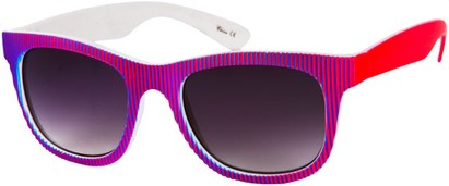 Angle of SW Striped Retro Style #109 in Neon Blue/Pink Frame, Women's and Men's