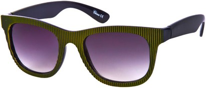Angle of SW Striped Retro Style #109 in Yellow/Navy Blue Frame, Women's and Men's