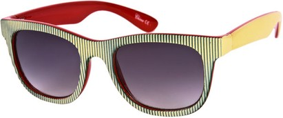 Angle of SW Striped Retro Style #109 in Red/Green/Yellow Frame, Women's and Men's