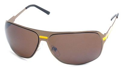 Angle of SW Aviator Style #5078 in Bronze and Yellow Frame, Women's and Men's