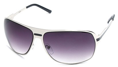 Angle of SW Aviator Style #5078 in Silver Frame with Smoke Lenses, Women's and Men's