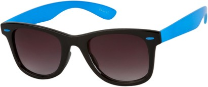 Angle of Gobi #1899 in Black/Blue Frame with Smoke Lenses, Women's and Men's Retro Square Sunglasses