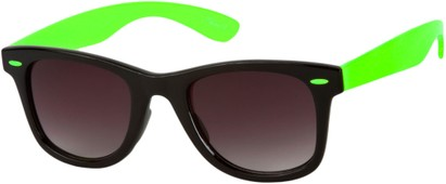 Angle of Gobi #1899 in Black/Green Frame with Smoke Lenses, Women's and Men's Retro Square Sunglasses