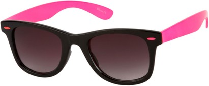 Angle of Gobi #1899 in Black/Hot Pink Frame with Smoke Lenses, Women's and Men's Retro Square Sunglasses