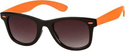 Angle of Gobi #1899 in Black/Orange Frame with Smoke Lenses, Women's and Men's Retro Square Sunglasses