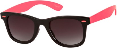 Angle of Gobi #1899 in Black/Coral Pink Frame with Smoke Lenses, Women's and Men's Retro Square Sunglasses