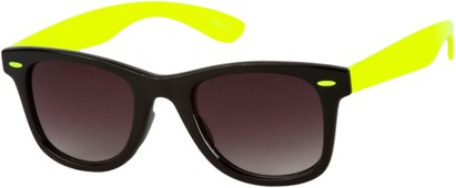 Angle of Gobi #1899 in Black/Yellow Frame with Smoke Lenses, Women's and Men's Retro Square Sunglasses