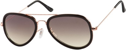 Angle of SW Aviator Style #9247 in Black/Gold Frame with Grey Lenses, Women's and Men's