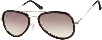 Angle of SW Aviator Style #9247 in Black/Silver Frame with Grey Lenses, Women's and Men's