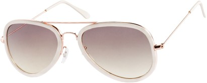 Angle of SW Aviator Style #9247 in Cream/Gold Frame with Grey Lenses, Women's and Men's