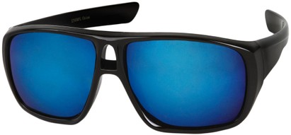 Angle of Dubai #1942 in Glossy Black Frame with Blue Mirrored Lenses, Women's and Men's Aviator Sunglasses