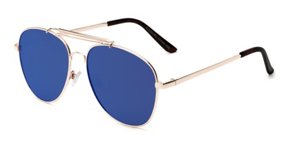 Angle of Flash #2684 in Gold Frame with Blue Mirrored  Lenses, Women's and Men's Aviator Sunglasses