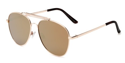 Angle of Flash #2684 in Gold Frame with Gold Mirrored  Lenses, Women's and Men's Aviator Sunglasses