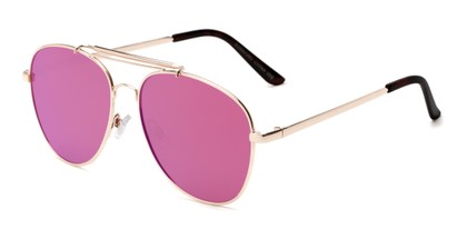 Angle of Flash #2684 in Gold Frame with Pink Mirrored  Lenses, Women's and Men's Aviator Sunglasses
