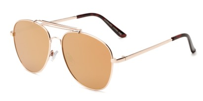 Angle of Flash #2684 in Gold Frame with Rose Gold Mirrored Lenses, Women's and Men's Aviator Sunglasses