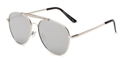 Angle of Flash #2684 in Silver Frame with Silver Mirrored  Lenses, Women's and Men's Aviator Sunglasses