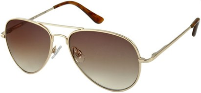 Angle of SW Retro Aviator Style #1631 in Gold Frame with Amber Lenses, Women's and Men's