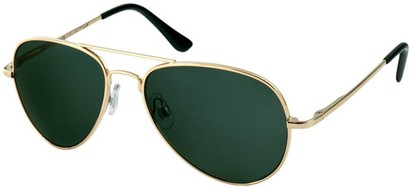 Angle of SW Retro Aviator Style #1631 in Gold Frame with Green Lenses, Women's and Men's