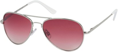 Angle of Sundown #3220 in Silver Frame with Pink Lenses, Women's and Men's Aviator Sunglasses