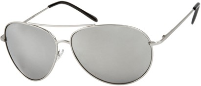 Angle of SW Mirrored Aviator Style #1612 in Silver Frame with Mirrored Lenses, Women's and Men's
