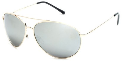 Angle of SW Mirrored Aviator Style #1612 in Gold Frame with Mirrored Lenses, Women's and Men's
