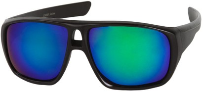 Angle of Dubai #1942 in Matte Black Frame with Green Mirrored Lenses, Women's and Men's Aviator Sunglasses