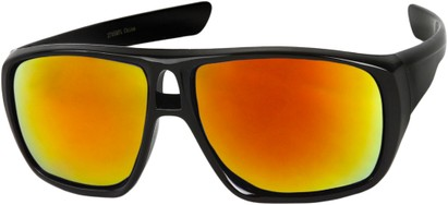 Angle of Dubai #1942 in Glossy Black Frame with Orange Mirrored Lenses, Women's and Men's Aviator Sunglasses