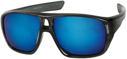 Angle of Dubai #1942 in Grey Frame with Blue Mirrored Lenses, Women's and Men's Aviator Sunglasses