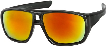 Angle of Dubai #1942 in Grey Frame with  Orange Mirrored Lenses, Women's and Men's Aviator Sunglasses