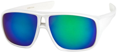 Angle of Dubai #1942 in White Frame with Green Mirrored Lenses, Women's and Men's Aviator Sunglasses