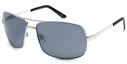 Angle of SW Polarized Aviator Style #515 in Silver Frame with Smoke Lenses, Women's and Men's