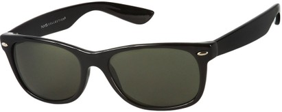 Angle of Highpoint #1689 in Black Frame with Green Lenses, Women's and Men's Retro Square Sunglasses