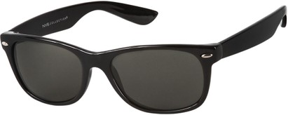 Angle of Highpoint #1689 in Black Frame with Smoke Lenses, Women's and Men's Retro Square Sunglasses