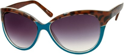 Angle of Sydney #37 in Blue and Brown Leopard with Smoke Lenses, Women's Cat Eye Sunglasses