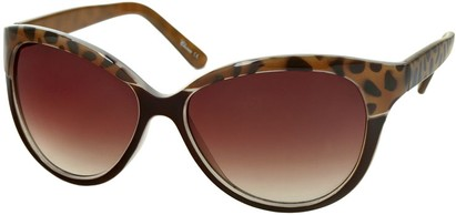 Angle of Sydney #37 in Brown and Brown Leopard with Amber Lenses, Women's Cat Eye Sunglasses